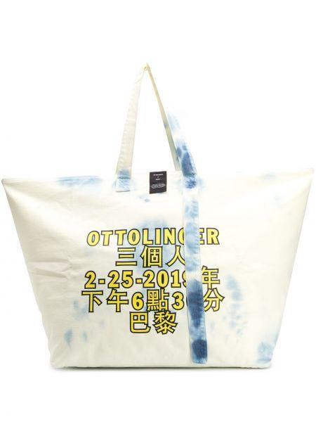 Хлопковая белая сумка-тоут с карманами Ottolinger