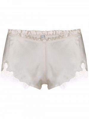 Белые кружевные шорты атласные Carine Gilson