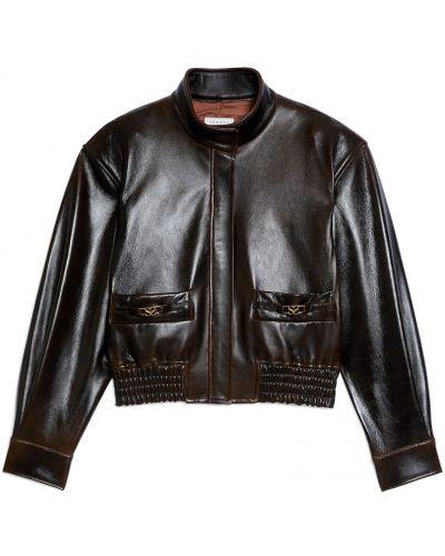 Кожаная куртка - черная Sandro