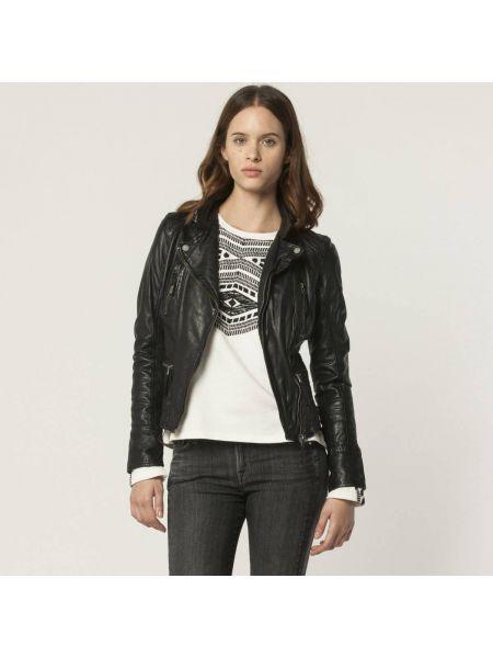Черная кожаная куртка с рисунком байкерская на молнии Oakwood