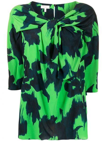 Шелковая блузка - зеленая Delpozo