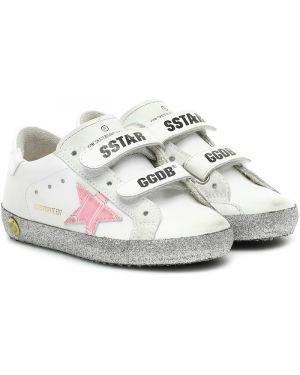 Sneakersy skórzany żółty Golden Goose Kids