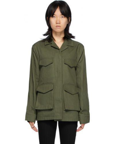 С рукавами зеленая длинная куртка с воротником TotÊme