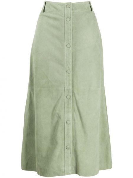 Кожаная зеленая юбка на пуговицах Arma