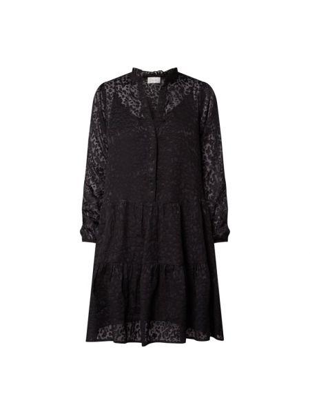 Czarna sukienka mini rozkloszowana z falbanami Neo Noir
