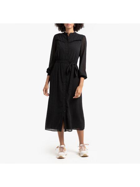 Платье с поясом на пуговицах с прозрачными рукавами La Redoute