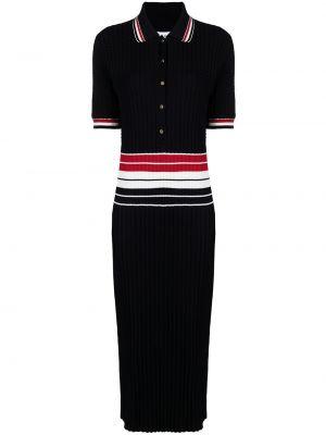 Prążkowana niebieska sukienka mini krótki rękaw Thom Browne