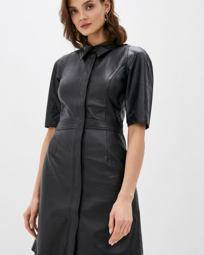 Кожаное черное платье Twist & Tango