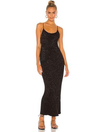 Черное платье макси с люрексом с подкладкой John & Jenn By Line