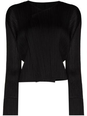Укороченная черная кардиган с длинными рукавами Pleats Please Issey Miyake