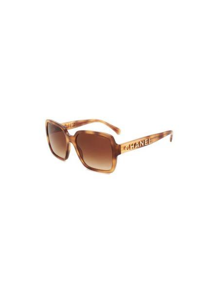 Золотистые коричневые солнцезащитные очки прямоугольные металлические Chanel