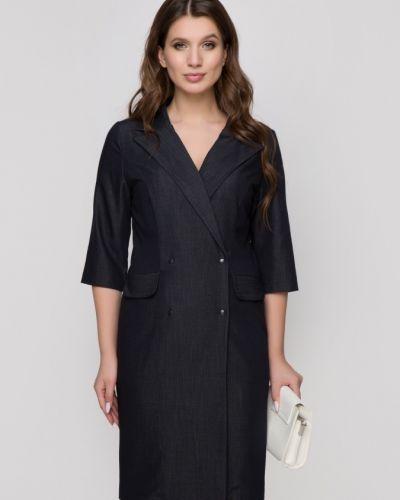 Платье миди с воротником на кнопках со шлицей с рукавом 3/4 Belluche