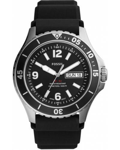 Czarny zegarek kwarcowy z paskiem silikon Fossil
