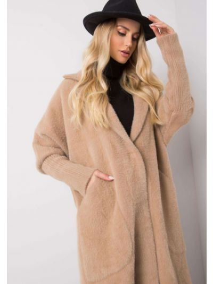 Płaszcz wełniany - beżowy Fashionhunters