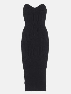 Черное платье миди с декольте без бретелек Khaite