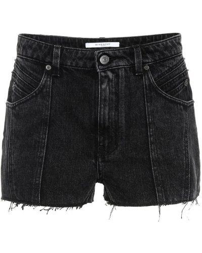 Черные джинсовые шорты со стразами Givenchy