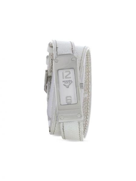 Szary zegarek na skórzanym pasku skórzany klamry Hermes