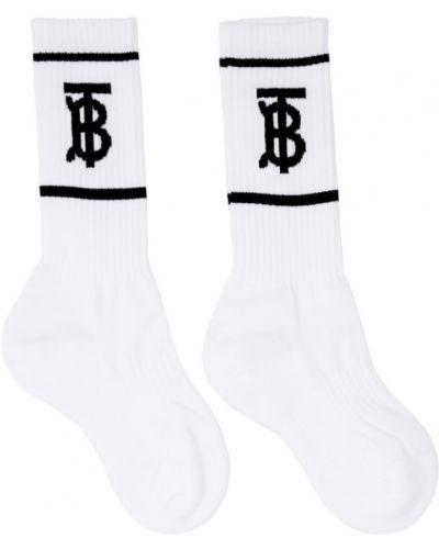 Хлопковые черные носки высокие в полоску Burberry
