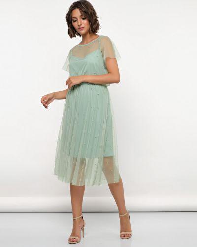 С рукавами шифоновое вечернее платье на бретелях на торжество Jetty