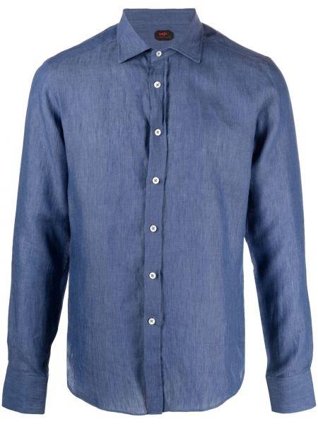 Klasyczna niebieska klasyczna koszula z długimi rękawami Mp Massimo Piombo