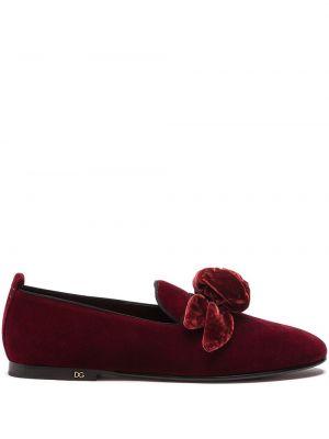 Красные кожаные слиперы без застежки Dolce & Gabbana