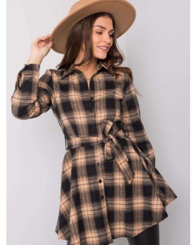 Czarna tunika z paskiem z wiskozy Fashionhunters