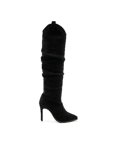 Кожаные сапоги черные на каблуке Raye