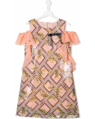 Платье с рукавами с пайетками хлопковое Miss Blumarine