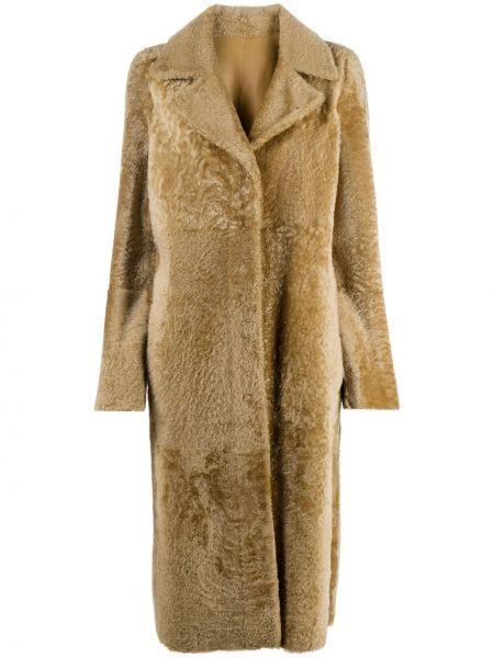 Коричневое пальто двустороннее из овчины Drome