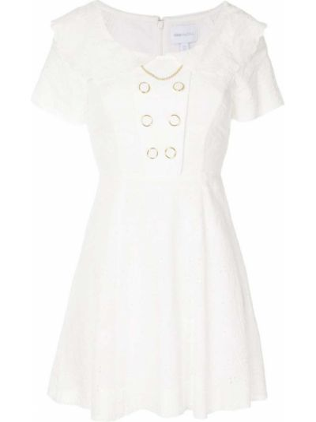Платье мини с вышивкой на пуговицах двубортное с короткими рукавами Alice Mccall