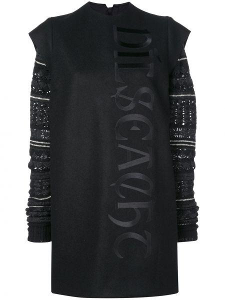 Шелковое с рукавами черное платье Vera Wang
