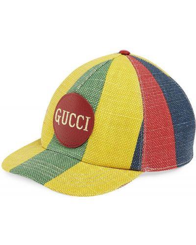 Skórzany z paskiem baseball czapka z łatami Gucci