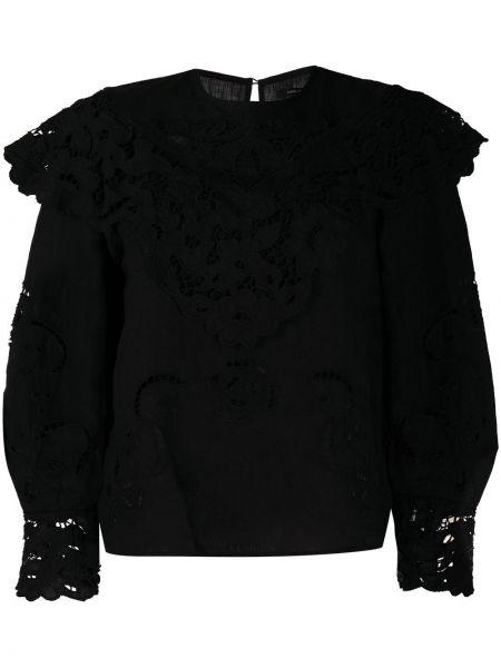Bawełna czarny bielizna bluzka z długim rękawem z długimi rękawami Isabel Marant