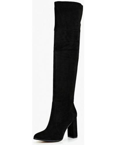 Ботфорты на каблуке замшевые черные Antonio Biaggi