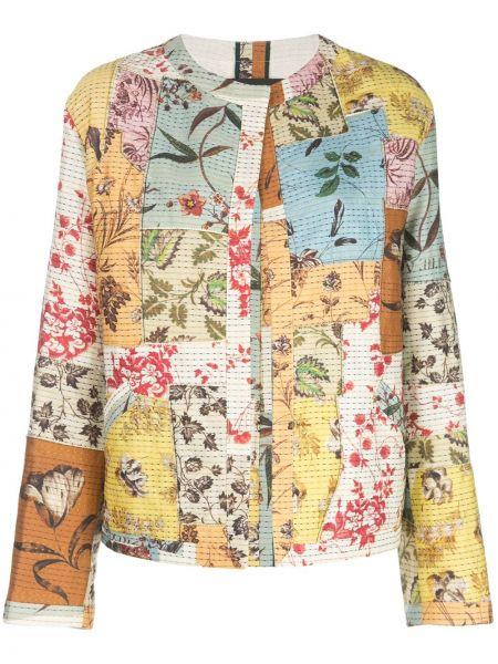Шелковая куртка пэчворк круглая с круглым вырезом Oscar De La Renta