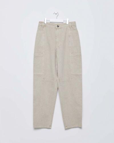 Бежевые зауженные джинсы-скинни с карманами Sela