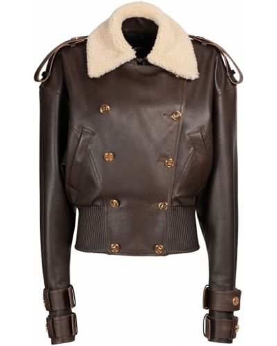 Кожаная куртка винтажная - коричневая Balmain