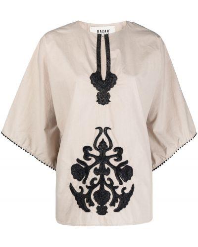 Хлопковая блузка с вышивкой с вырезом Bazar Deluxe