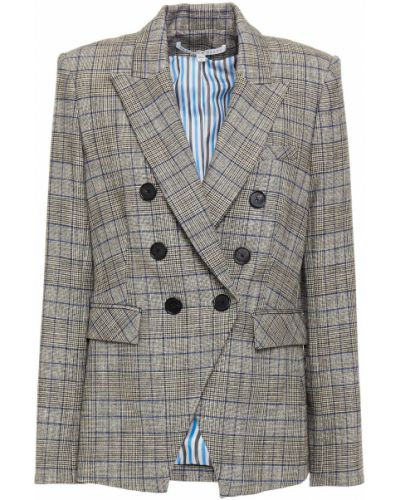 Серый пиджак двубортный с подкладкой Veronica Beard