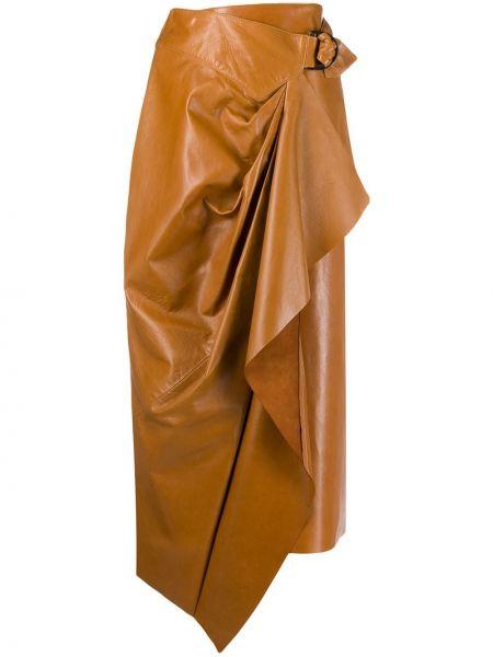 Кожаная юбка миди с запахом с поясом Isabel Marant