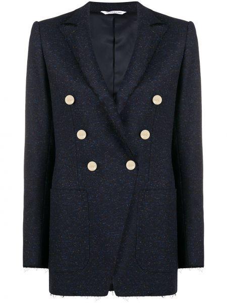 Шерстяной синий классический пиджак с лацканами с длинными рукавами Tonello