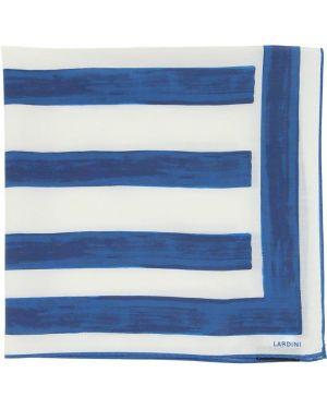 Niebieski szalik w paski z jedwabiu Lardini