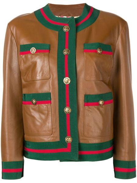Коричневая кожаная куртка с манжетами круглая с вырезом Gucci