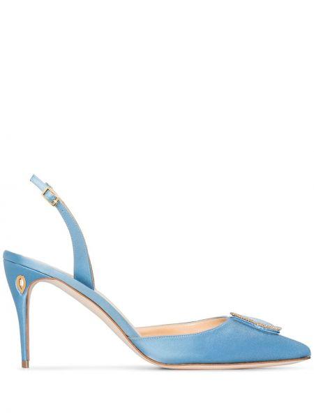 С ремешком шелковые синие туфли с ремешком Jennifer Chamandi