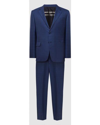 Костюмный шелковый синий костюм Brioni