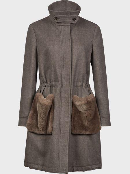 Серое шерстяное пальто на молнии Eleventy
