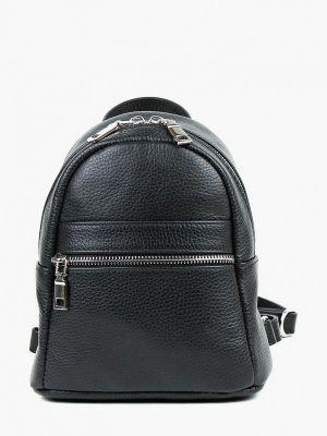 Городской черный рюкзак из натуральной кожи медведково