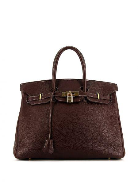 Золотистая коричневая кожаная сумка с ручками Hermes