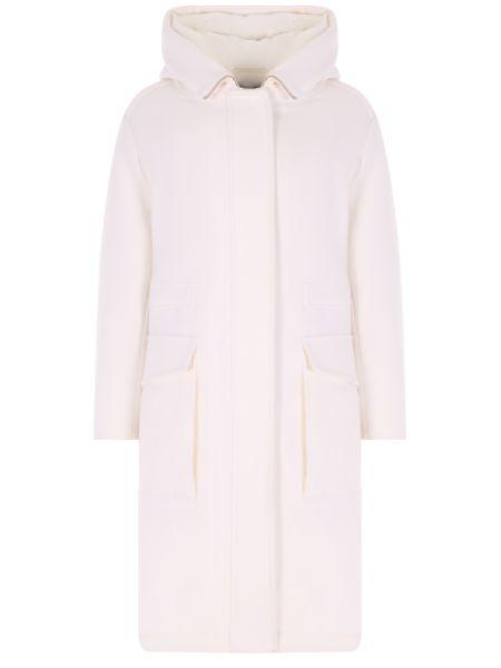 Теплое пуховое пальто с капюшоном айвори с перьями Malo