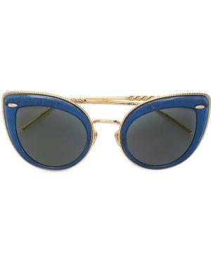 Прямые желтые солнцезащитные очки металлические Boucheron Eyewear